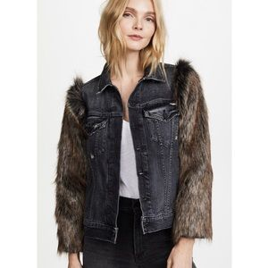 Mother Armed & Ready faux fur sleeve jacket